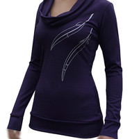 Cozy & Soft NZ Merino Wool Cowl Top 'Cinder' Purple by morphic