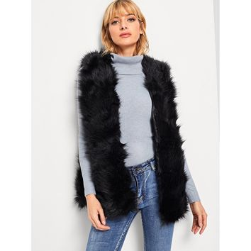 Open Front Faux Fur Shell Coat