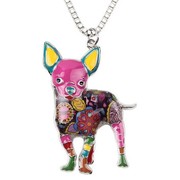 Colorfully painted Chihuahua Dog Pendant on a Choker Necklace Many Colors Available  FREE SHIPPING