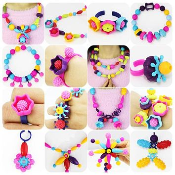 Pop Beads Children Cordless Snap Together Toy Jewelry Necklace Ring Bracelet Making Kit Gift for Girls DIY Crafts