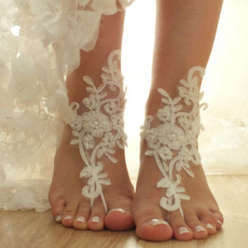 Free Ship ivory  lariat sandals,  laceBarefoot Sandals, french lace, Beach wedding barefoot sandals