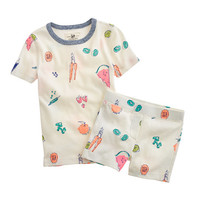 crewcuts Girls Short Pajama Set In Fruit And Veggies