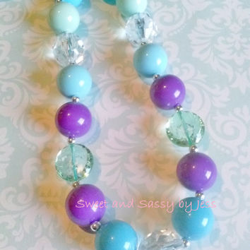 Purple teal Blue Chunky necklace, bubble gum necklace, toddler boutique necklace, baby chunky necklace, ribbon chunky necklace, popular