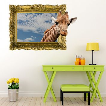 IPF9 - The Giraffe Head Illusion Picture Frame Wall Decal
