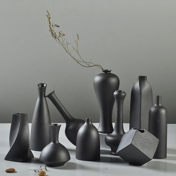 Unique Black Ceramic Coarse Pottery Flower Vase