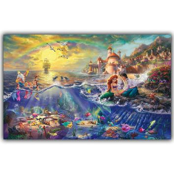 On The Wall In The World Of Art Silk Print Poster Home Decorative Painting Fairy Tale The Little Mermaid And The Prince HH002