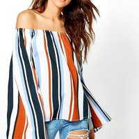 Helena Stripe Off The Shoulder Top | Boohoo