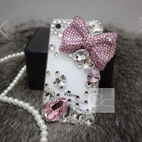 iPhone 5S Case Bling iPhone 5C Case for iPhone 4 S Case iPhone 3S Bling Case iPhone 4 Bling Case iPhone 5 Case Cover Rhinestone Pink Ribbon