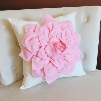 Light Pink Dahlia Flower on Ivory Pillow Nursery Pillow