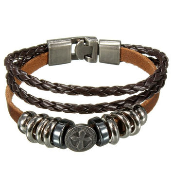 Multilayer Cross Braided Charm Leather Wrap Bracelet Unisex