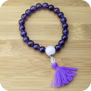 Amethyst Mala Beads Bracelet with Rose Quartz