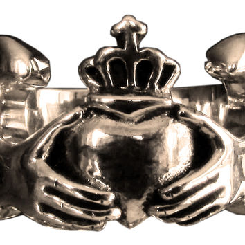 Claddagh Irish Heart Ring Crown and Winged Heart in Bronze
