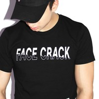 Face Crack Crop Tee- Black
