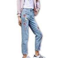 Flower Embroidered Straight Ankle-Length Jeans