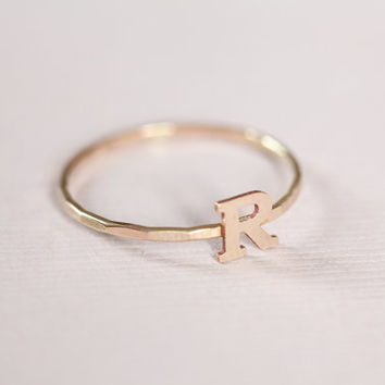 initial ring, , monogram ring, letter ring for personalized jewelry, dainty ring for everyday ring, family ring - gold filled