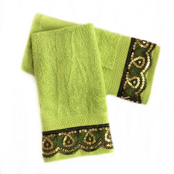 Neon Green Decorative Towel set, Hand Towel Set of 2 House warming Gift, Kitchen hand towels, New Apartment Gift, Birthday Gift for him