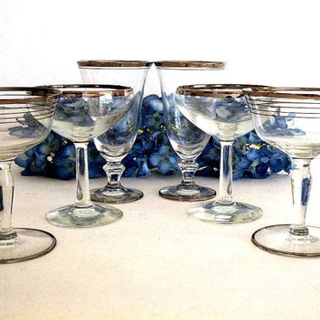 Vintage SIX Silver rim champagne coupes, saucers & whiskey sour glassses, Dorothy Thorpe Mad Men style, bar ware barware, cocktail glassware