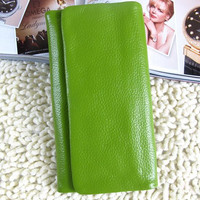 100% Handmade Leather Pures /Leather Wallet/women wallet/ Leather iphone 6 plus-iphone 6 Bag /handmade waller /handbag /unique wallet--GREEN