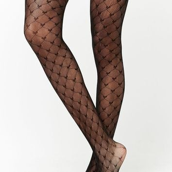 Sheer Diamond & Heart Tights