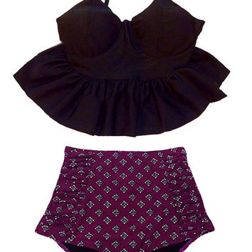 Black Long Peplum Top and Burgundy High waisted waist High-waisted High-waist Bottom Swimsuit Bikini Bathing suit wear Swim piece pieces S M