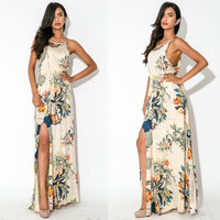 Feelingirl Print Leaf Pattern Sleeveless Ankle-length Summer Dress High Split Long Beach Dresses = 1696621636