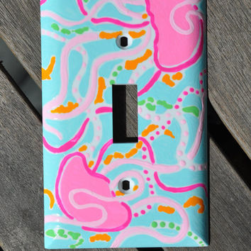 Hand Painted Lilly Pulitzer Inspired Light Switch Cover: Jellies Be Jammin' Light Switch Cover