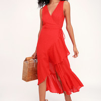 Picnic Perfect Red Seersucker High-Low Wrap Dress