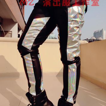 2016 original design fashion men silver black colorful laser colorant match slim light male singer DJ bottom leather long pants