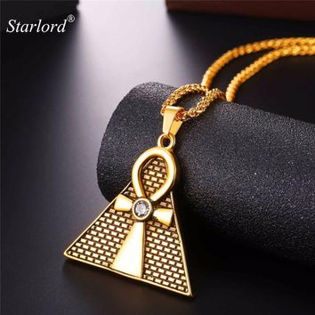 Starlord Ansata Cross/Ankh Necklace&Egyptian Pyramids Pendant Necklace Gold Color Key of The Life Chain For Men/Women New GP2571