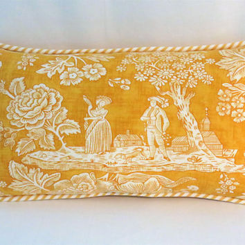 "Golden Toile Lumbar Pillow, Rare Pierre Deux La Declaration, Yellow White 9 x 17"" Linen w/Ticking Stripe Welt, Disc. French Country Fabric"