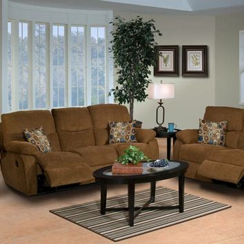 A.M.B. Furniture & Design :: Living room furniture :: Sofas and Sets :: Motion sofa sets :: 2 Pc. Manchester Cocoa Dual Standard Motion Recliner Sofa and Loveseat Set