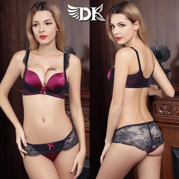 DK Gather No rims sequins Bra Set Sexy Lace breathable adjustment closing Furu lingerie panties