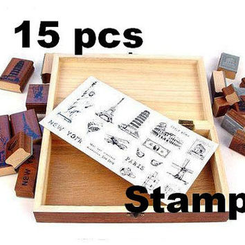 travel journey Rubber Stamp World map World Landmarks special Collection stamp set Wooden gift Box Travel diary traveler handbook best gift