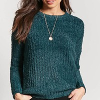 Ribbed Fuzzy Knit Sweater