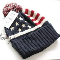 Sports Hat Cap trendy  Top Quality Fashion U.S.A American Flag Beanie Hat.Wool Thicken Warm Knitted Caps,Casual Hip-hop Cap.Sports Hairball Knitted Hat KO_16_1