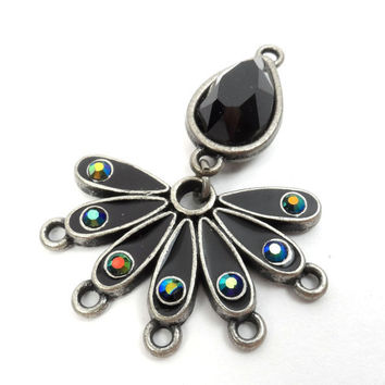 Black Peacock Pendant, Drop Necklace, Black Gemstone AB Beads, Focal  P32