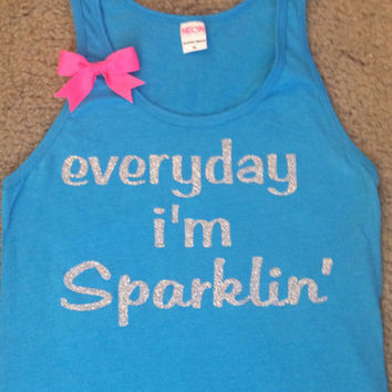 SALE - Everyday I'm Sparklin' -UNISEX Tank - Ruffles with Love - Womens Fitness - Workout Tank - Bow Tank