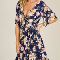 Floral Flared Surplice Dress
