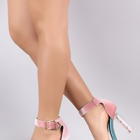 Buckle Crushed Velvet Tribal Chunky Clear Heel