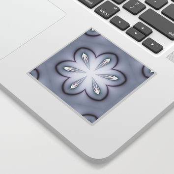 Gray and White Retro Flowers Sticker by MoonBrook