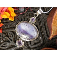 Tiffany Stone and Amethyst Sterling Silver Pendant/Necklace