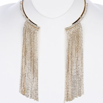 Clear Long Rhinestone Fringe Metal Choker Necklace