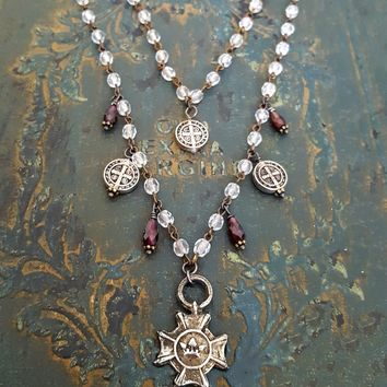Garnet Bead Necklace, St Benedict Charm Necklace, Double Strand Bead, Crystal Bead Charm, Coin Necklace, St Benedict Cross, Vintage Style