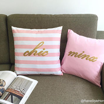Hand Cut Matt Gold Minx Pink Accents Pillow Cover. 16inch Pink And Gold Cushion Cover. Bridal Shower Gift New Home Gift. Girls Room Decor