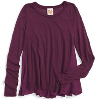 Girl's Kiddo High/Low Knit Top with Chiffon Back,