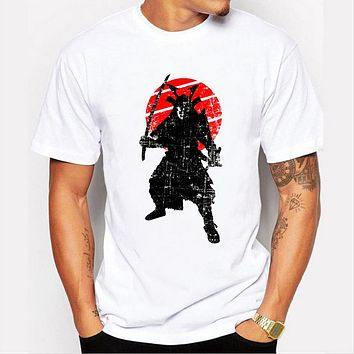 Warrior Design Men Short Sleeve Casual Punk t-shirt Printed Tops