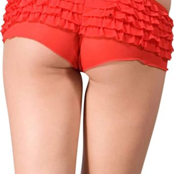 Spreegirl Red Glitter Cheeky Ruffled Boyshort