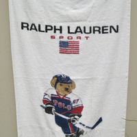 Ralph Lauren Polo Bear Beach Towel Ralph Lauren Sport USA Hockey Bear Polo Bear Hockey Towel USA Polo Bear Sports Beach Towel Used Clean
