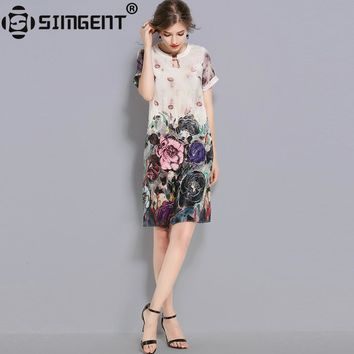 Simgent New Fashion Summer Women's Chinese Style Floral Print Casual Loose Elegant Silk Dress Women Clothing Vestidos SG77111