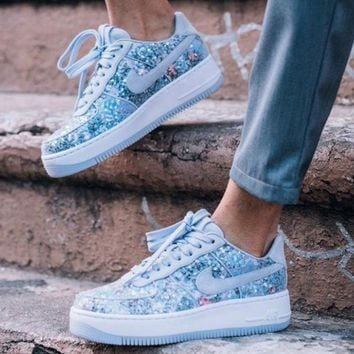 Nike Air Force 1 Upstep Low Diamond sparkle crystal shoes